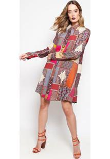 Vestido De Arabescos Com Botões - Bege & Marrom - Ahaha