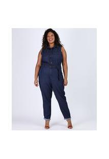 Macacão Jeans Feminino Plus Size Com Bolsos E Cinto Sem Manga Azul Escuro