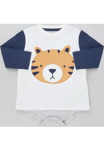 Body Infantil Tigre Manga Longa Azul Marinho