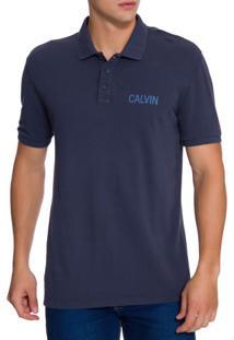 Polo Ckj Mc Est Calvin Jeans - Azul Marinho - P