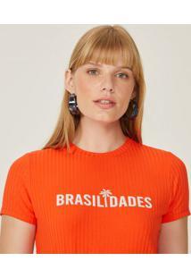 Amaro Feminino T-Shirt Cropped Malha Canelada Estampa, Coral