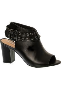 Sandal Boot Preta Em Couro Com Salto Bloco