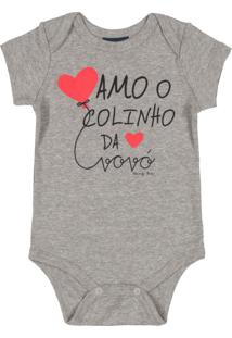 Body Bebê Manga Curta Frases Cinza