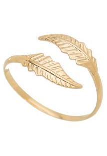 Anel Folheado A Ouro Folhas- Dourado- Regulável-Carolina Alcaide