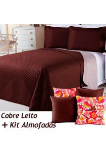 Kit Dourados Enxovais Cobre Leito C/ 4 Almofadas Cheias Dual Color Marrom/Bege Dupla Face Casal Padrão 07 Peças
