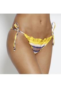 Calcinha Tanga Abstrato- Amarela & Brancavix