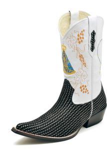 Bota Texana Couro Nossa Senhora Aparecida Bico Fino Gaspariano Calçados Branco