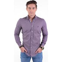 2f7dbc43bd Camisa Social Masculina Slim Xadrez - Masculino-Roxo