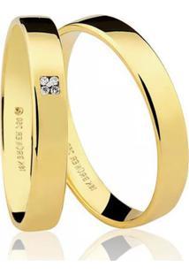Aliança Kumbayá Lisa Em Ouro 18K Com 3,5 Mm De Largura Anatômica Quadrada Com 4 Diamantes