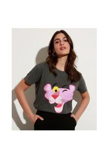 T-Shirt De Algodão Pantera Cor-De-Rosa Manga Curta Decote Redondo Mindset Chumbo