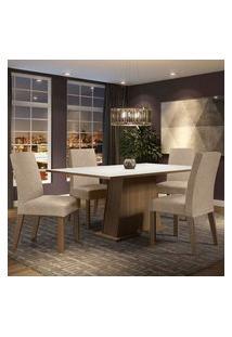 Conjunto Sala De Jantar Madesa Flavia Mesa Tampo De Madeira Com 4 Cadeiras Rustic/Branco/Imperial Rustic