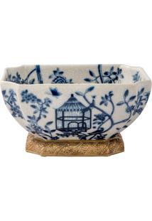 Vaso De Porcelana E Bronze Iv - Blue White