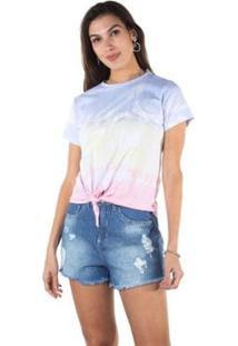 Camiseta Besni Feminina - Feminino-Lilás+Rosa