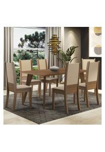 Conjunto Sala De Jantar Madesa Damaris Mesa Tampo De Madeira Com 6 Cadeiras Rustic/Crema/Bege Cor:Preto/Branco/Bege