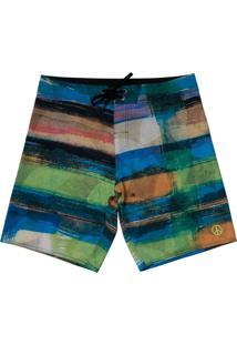 Boardshort Vw Freedom Crazy Stripes - Verde - Masculino - Dafiti