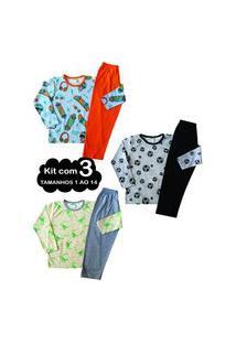 Kit 3 Pijama 1 Ao 14 Infantil Juvenil Menino Algodáo Inverno Multicolorido