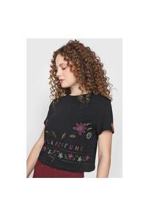 Camiseta Lança Perfume Floral Bordado Preta