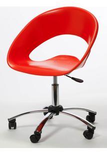 Cadeira One Giratoria Cromada C/Braco Cor Vermelho - 22662 - Sun House