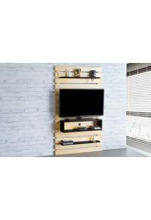 Painel Para Tv Standby - Estante Para Tv Até 45 Polegadas Natural E Preto - 100X23X172 Cm