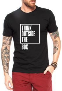 Camiseta Criativa Urbana Think Outside The Box Preta ab81d6d94b80d