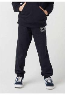Calça Infantil Menino Em Moletom Jogger Preto