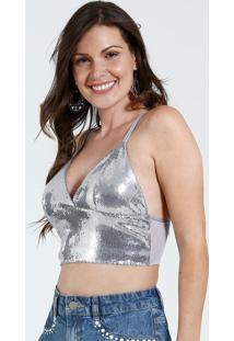 Top Feminino Paetês Metalizado Marisa