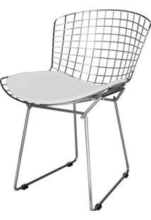 Cadeira Bertoia Assento Courrissimo Branco Cromada 4335 - Sun House