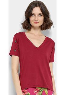 Camiseta Aura Ilhós Gola V Feminina - Feminino-Vinho