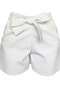 Short Cz Brand Sintético Amarrado Branco