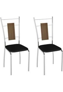 Conjunto Com 2 Cadeiras Caspian Preto E Cromado