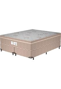 Cama Box Queen Essential – Probel - Branco / Marrom / Camurça