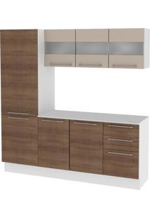 Cozinha Compacta Madesa Lara 3 Pçs - Branco/ Rustic/ Crema