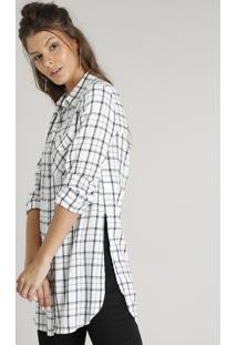 6f65b0f00e37 Camisa Feminina Longa Estampada Xadrez Com Bolso Manga Longa Off White