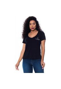 T-Shirt Daniela Cristina Gola V Profundo 01 602Dc10328 Preto