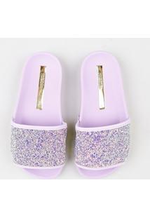 Chinelo Slide Infantil Moleca Com Glitter Lilás