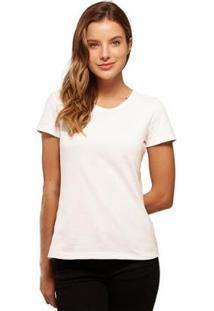 Camiseta Basicamente Babylook Básica Feminina - Feminino-Branco