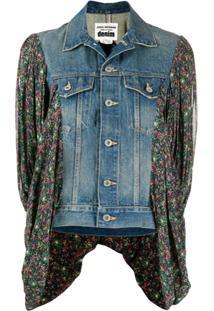 Junya Watanabe Jaqueta Jeans Com Recortes Contrastantes - Azul