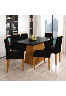 Conjunto De Mesa De Jantar Com Tampo De Vidro Bárbara E 6 Cadeiras Ana Veludo Preto