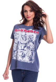 Camiseta Jazz Brasil Iron Maiden Azul