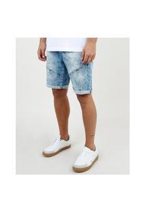 Bermuda Jeans Masculina Slim Com Recortes E Barra Dobrada Azul Médio