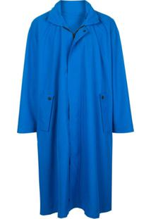 Homme Plissé Issey Miyake Casaco Oversized Com Abotoamento Simples - Azul