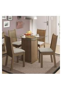 Conjunto Sala De Jantar Madesa Lucy Mesa Tampo De Vidro Com 4 Cadeiras Rustic/Pérola