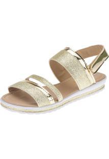 Sandália Anabela Slim Infantil Menina Fashion Strass Brilho Velcro 69.05.033 - Dourado