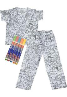 Pijama Infantil Win Design De Pintar Primavera Unissex Floresta Masculino - Masculino-Cinza
