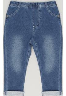 828c0bd37 Calça Jeans Infantil Com Barra Dobrada Em Moletom Em Algodão + Sustentável  Azul Escuro