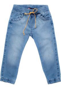 Calça Jeans Infantil Oznes Jogger Menina Azul Claro - 1
