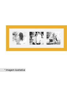 Painel Insta Para 3 Fotos- Amarelo & Branco- 15X38X1Kapos