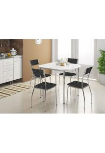 Mesa 1510 Branca Cromada Com 4 Cadeiras 1701 Fantasia Preto Carraro