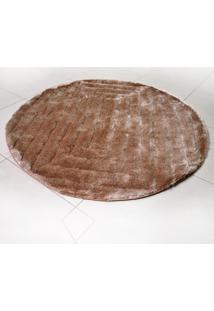 Tapete Silk Shaggy 3D Redondo 1,50M Khaki Quadri
