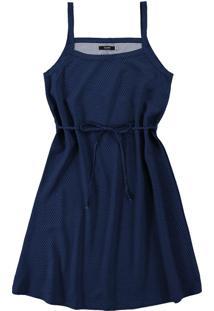 Vestido Azul Marinho Evasê Estampado Em Viscose